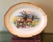Antique Saxon China Platter Transferware Woodland Animal Elk Bull Cow Edwin Megargee 13 1 2 quot