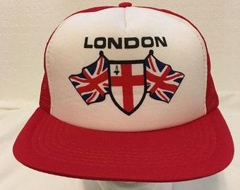 f2733bf78b351 Vintage London England Foam Mesh Trucker Snapback Hat Union Jack Red