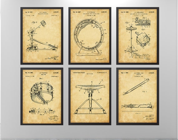 8x10 Wall Art Drummer Gifts Room Decor Music Snare Set of 6 Drum Patent Prints