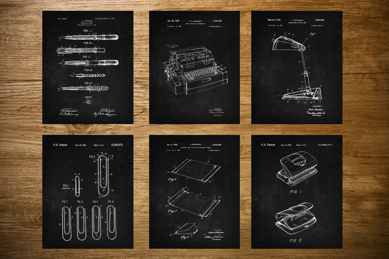 Office Patent Prints Set of 6, Accountancy Poster, Office Wall Art,  Business Management, Fountain Pen, Typewriter, Paper Clip, Office Lamp