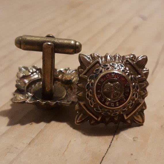 Military buttonhole pin Royal Crest cufflinks British Army Genuine WW2