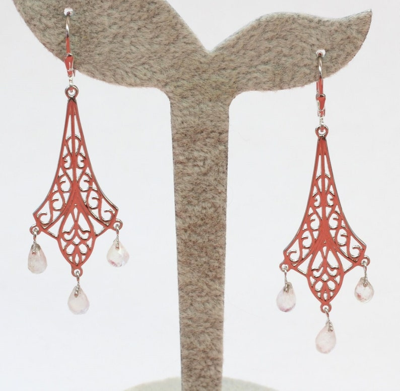 Noble 3.78 Carat Mondlichtoas Earhanger Earpiece 925 Silver Brisur Top Noble Moonstone Noble Earrings in Romantic Look