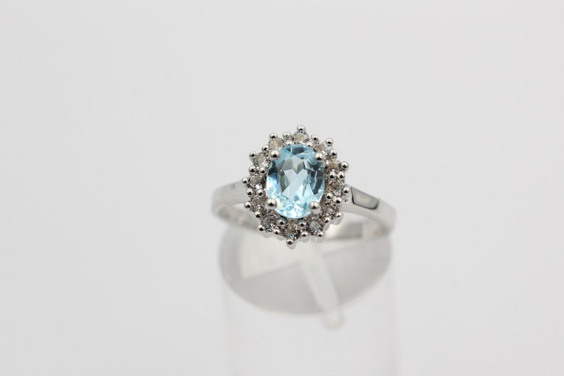Noble 1.65 Carat Blautopaz Weiatopas Ring 925 Silver Finger Ring 8  18  57