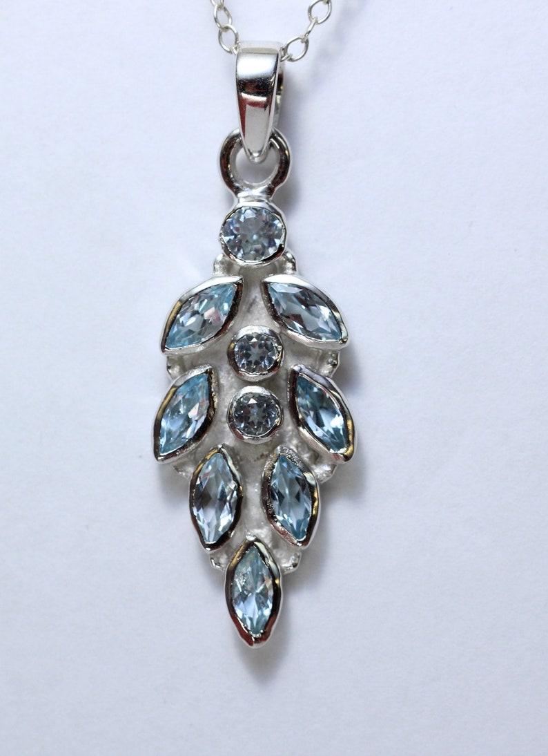 2.63 Carat Blue Topas Designer Appendix 925 Silver Collier Chain sky blue Topaz