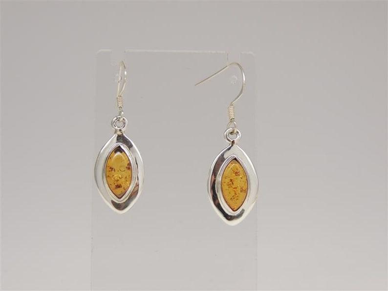 Amber earrings 925 silver ear earrings noble amber top