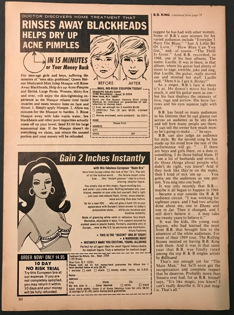 European Nude Bra on Back of Page Star-Slimmer Belt 1970s Advertisement Actual Magazine Page Black /& White Retro Ad for Weight Loss