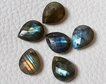 No Drilled,10 Beads,Matched Pairs,Super Finest Blue Flash Labradorite  Faceted Pear Shape Size 12x16mm aprx