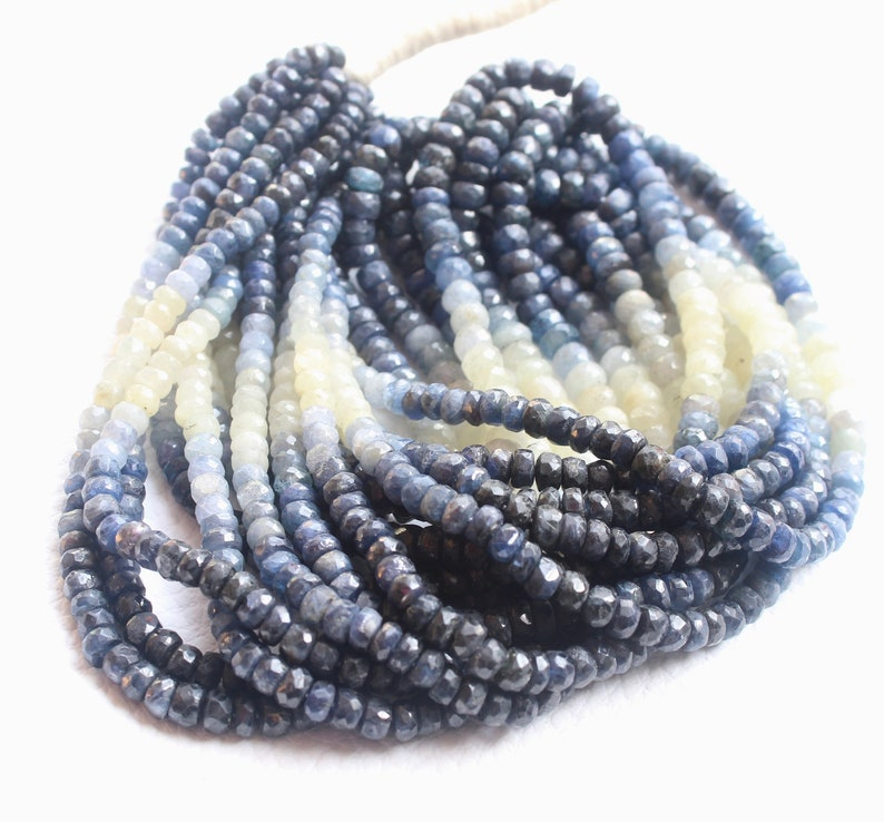 16 Inches Long Strand Natural Blue SAPPHIRE Faceted Rondelle beads.---4--5-mm--M 239 Wholesale price
