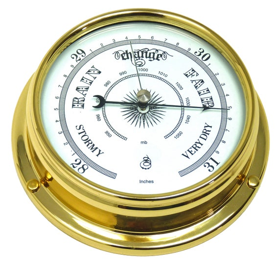 Brass Barometer with built in Hygrometer and Thermometer Heavy Lacquered Brass