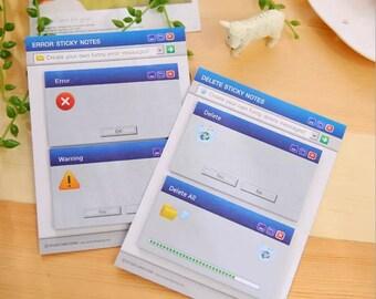 Gentil 1 Pcs ERROR / DELETE Sticky Notes, Creative Post Notepad Filofax Memo Pads, Office  Supplies School School Stationery, Novelty Gift, Retro