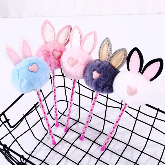 Cute Bunny Rabbit Novelty Pen With Ears Pom Pom School Teen Stationary Animal