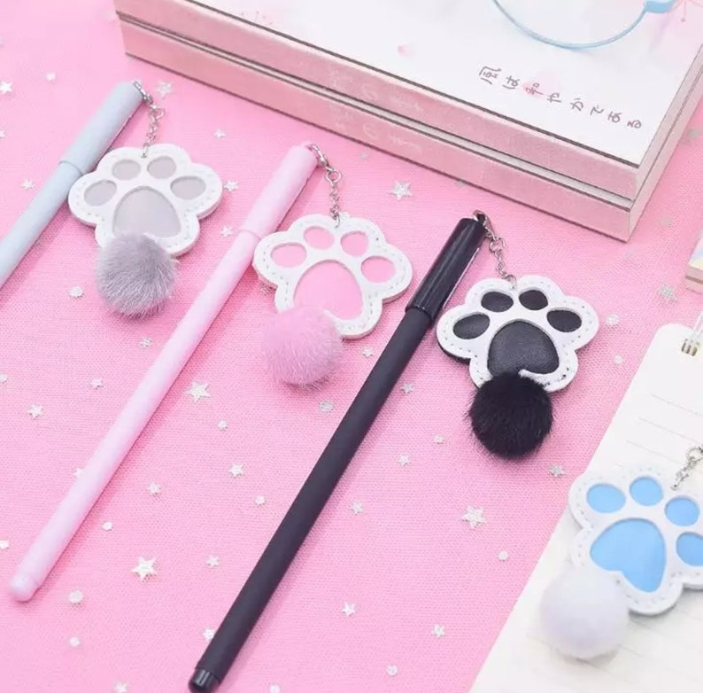 1 PC Kawaii Cute Cat Claw Paw Plush Ball Pendant Gel Pens pink blue black grey unique gift office school supplies stationery Animal pen