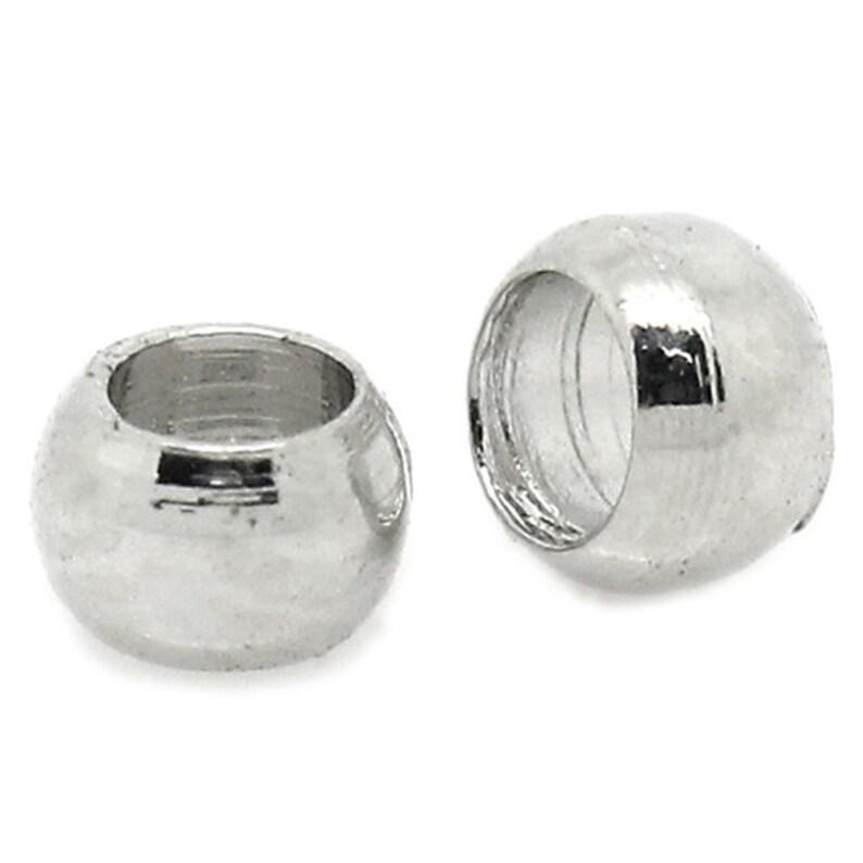 Pinch balls 2 mm x 2.5 mm 100 piece Antique Silver