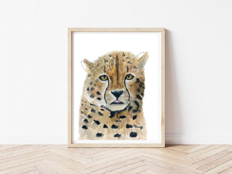 Savannah Art 8x10 Original Watercolor Cheetah Painting Wildlife Painting Safari Artwork
