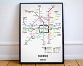 Norwich Norfolk Underground Style Transport Street Map Print Poster A3 A4 Modern GIFT Art