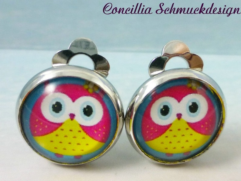 Clip Earrings Colorful Owl