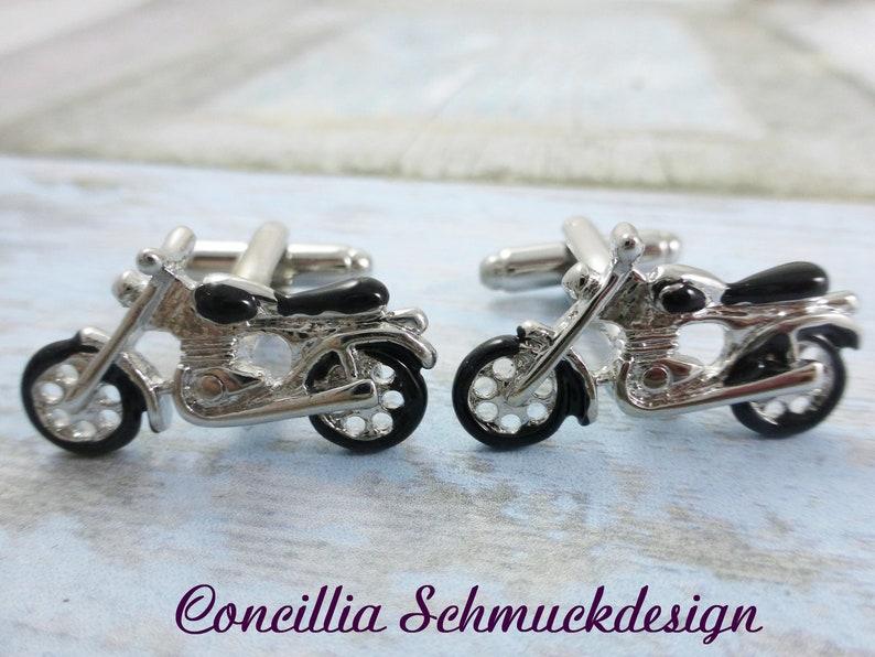 Cufflinks motorcycle silver black