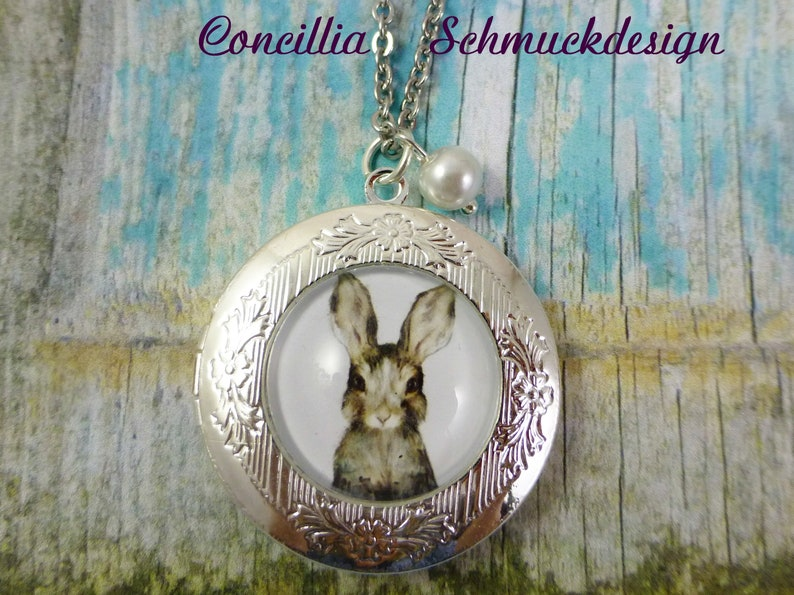 Stainless steel necklace silver medallion bunny