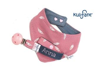 Set Schnullerband und Dreieckstuch Sabbertuch Baby Babygeschenk Mädchen altrosa mit Namen , rosa, Geburtsgeschenk Tuch Babys personalisiert