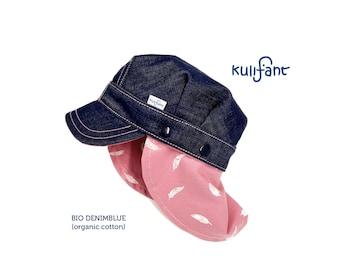 Children's organic denim jeans umbrella cap summer cap cap with sun protection neck protection removable all sizes kindergarten cap many colors