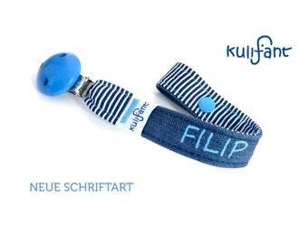 """Jeans Schnullerband  """"Punkte blau"""" Name mit Namen Babygeschenk Geburtsgeschenk neuer Schrifttyp maritim *skyblue denim* Streifen schlicht"""