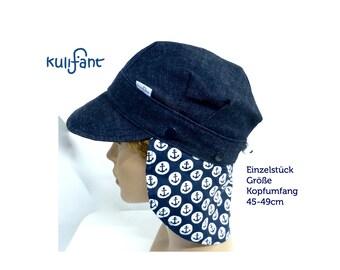 UNIQUE PIECE Size 45 cm-49 cm BIODenim summer cap umbrella cap Denim Denim cap *Louis* with neck protection buttonable with growing