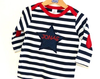 cool BABY SHIRT navy look with name / birthday shirt birthday gift 1-2 years unisex stripe blue white or red white