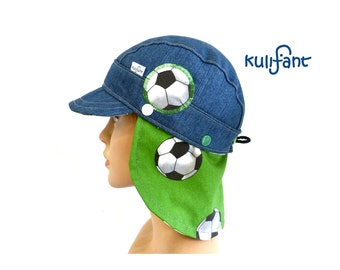 UNIQUE PIECE Size 47 cm-51 cm lighter jeans Summer hat Football European Championship World Cup Denim cap *Michel* with neck protection unwrinkable with growing