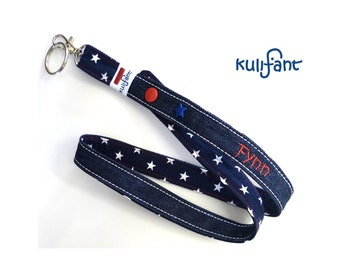 cool denim lanychain with name/ STARS bluedenim with name /text / desired length possible/ stars many colors great gift for children!
