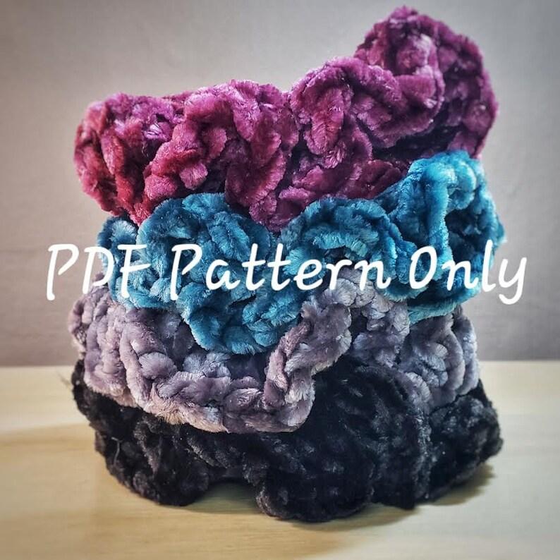 PDF PATTERN  Velvet Crochet Scrunchies image 0
