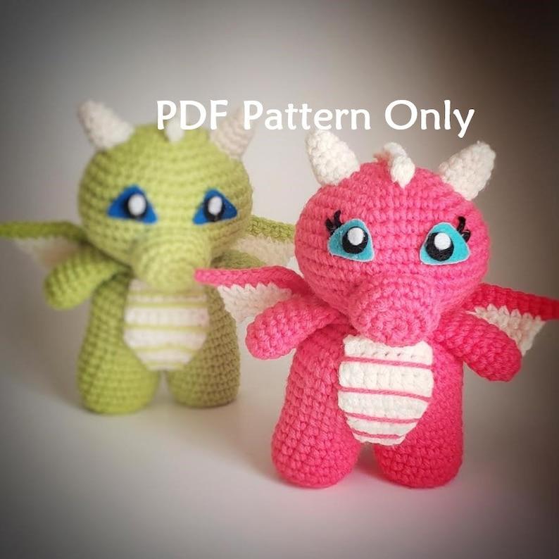 PDF Crochet Pattern  Baby Dragon Amigurumi image 0
