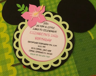 Minnie Luau Invitations Mouse Theme Party Hawaiian Birthday Invitation