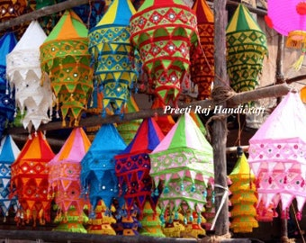 Hippie lampshade etsy 5 pcs lot cotton fabric lampshades indian wedding decor lanterns diwali lamps colorful hippie bohemian tent hangings out garden chandeliers aloadofball Images