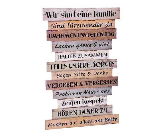 Wandbild Familie Wanddekoration Holz Dekoschild Sprüche Dekoration Wand Schild Familienregeln Shabby Vintage Holzbild Spruch Home Regeln Neu