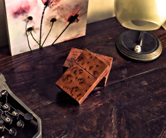 Visitenkartenetui Holz Handarbeit Aus Berlin Holzetui Kreditkarten Hülle Visitenkartenbox Holz Zigarettenetui Zigarettenbox Leder Unikat