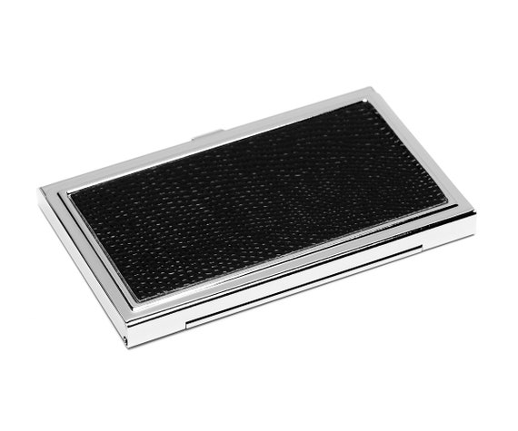 Business Card Etui Etui Card Etui Chrome Chrome Chrome Silver Igroan Leather Faux Leather Rays Black Metal Classy Box Silvered Box Cards