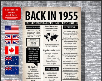 64th Birthday Gift For Him Decorations 1955 Poster Back In Canada Born