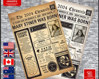 2004 Birthday Back In Newspaper Poster PRINTABLE Digital Sign Gift Ideas 15th Decoration Born UK