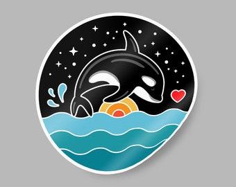 Orca Breaching Sticker. Orca sticker. Killer whale sticker. Tilikum sticker. Orca vinyl sticker. Orca sticker waterproof. Orca sticker label