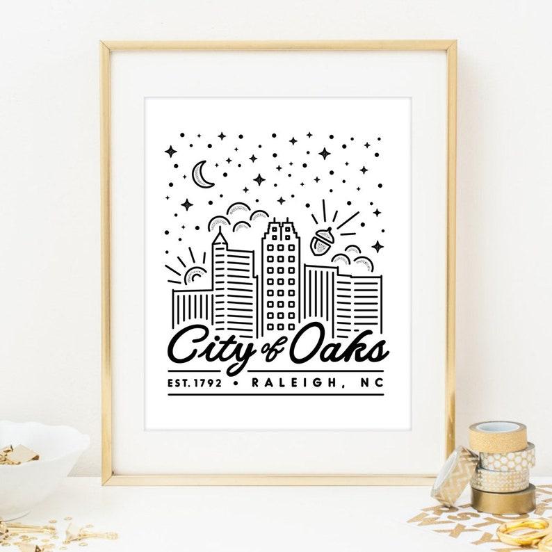 Raleigh City of Oaks Digital Print. Raleigh poster print. image 0