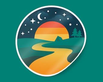 Moonlight camping sticker. Camping sticker waterproof. Camping vinyl sticker. Bottle sticker. Retro camping sticker.Camping sticker adhesive