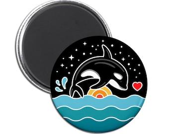 Orca Breaching Magnet. Orca art. Killer whale art. Orca lover. Whale lover. Tilikum. Whale art. Ocean art. Ocean magnet. Whale magnet.