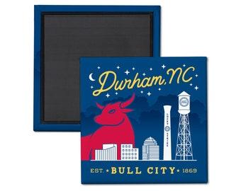Durham Bull City Magnet. Durham NC magnet. North Carolina magnet. Durham NC fridge magnet. Durham NC refrigerator magnet. Downtown Durham
