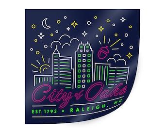 Raleigh sticker. Raleigh NC sticker. City of Oaks Sticker. Raleigh skyline sticker. North Carolina sticker. North Carolina art. NC state art
