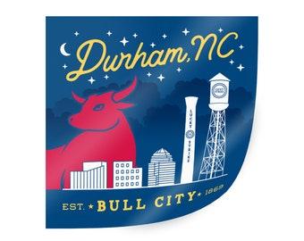 Durham Bull City Sticker. Durham NC sticker. North Carolina sticker. Durham NC decal sticker. Durham NC adhesive sticker. Bull City decal