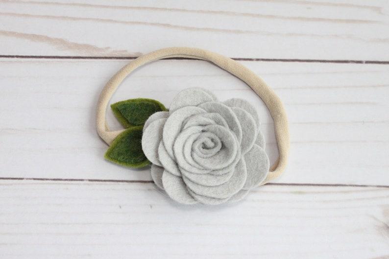 Light Grey Felt Flower Headband OR Alligator Clip one size fits all nylon band SN089