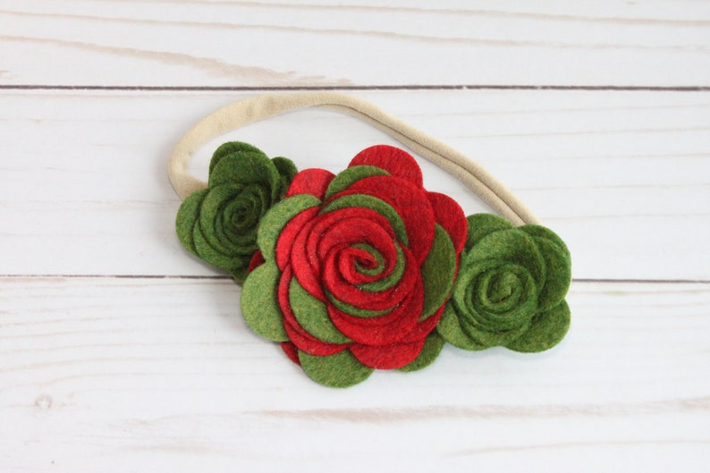 one size fits all nylon band Red and Green Christmas Felt Flower Headband TR306