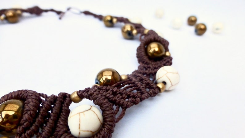 handmade necklace,gift for her Made in Italy Brown macram\u00e8 necklace with  white synthetic turquoise pearls and bronze colored glass beads