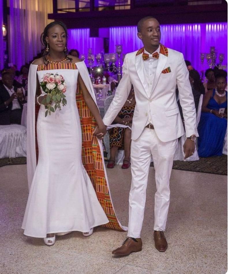260ee23fe1619 African wedding outfits, African wedding suits, African groom's suit,  African bride's dress, African Wedding clothing, Wedding couple set