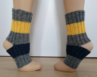 hand knitted yoga socks multicolour hipster Pilates Socks Wellness Socks Size 37 - 43 Boho Dance toeless chausettes de Yoga Pedicure Calze